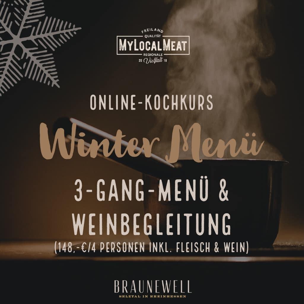 Online Kochkurs Wintermenü mit Weinbegleitung <br>Für je 4 Personen am <br>20.11.2021 16.00-19.00 Uhr